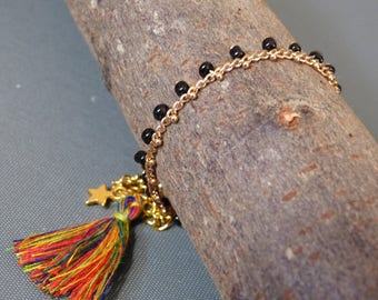 Gold & Black seed bead chain anklet