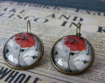 Poppy flower cabochon earrings
