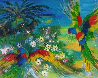 Birds painting Parrots Modern Acrylic painting Paradise Painting Original painting Jungle painting Wall decor Fine art Bright Birds portreit
