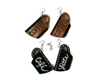 Coffee Earrings, Hand Painted Earrings, Cafe Latte, Coffee Jewelry, Wood Earrings, Coffee Art, Latte Earrings, Earrings, Handmade Earrings