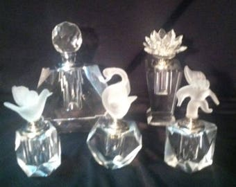 5 Vintage Glass Perfume Bottles with glass wands
