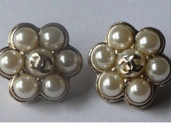 Chanel Faux Pearl Cluster Earrings. CC. Hallmarked. Authentic