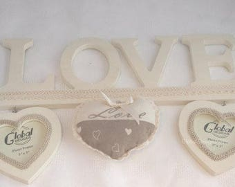 Love Picture Frame Collage Retro Vintage Love & Welcome Padded Hearts HX2069A