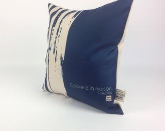 Decorative pillow / cushion blue / pattern river sea /coussin washable/St-Jean-sur-Richelieu/Quebec cm - 03