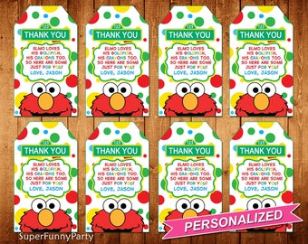 Elmo Favor Tags, Sesame Street Thank You Tags, Elmo Thank You Tags, Elmo Printable, Elmo loves his goldfish and crayons too, Digital File