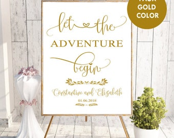 Wedding Sign,Wedding Sign Printable,Welcome to Our Wedding Sign,Wedding Printable,Digital Welcome Printable,Let the Adventure Begin,faux