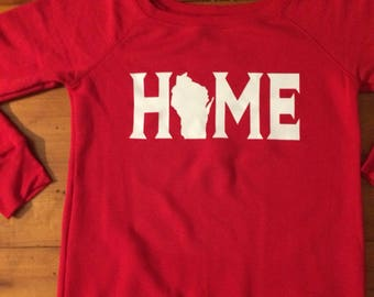 Women's Red Wisconsin Home sweater