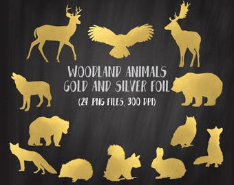 Woodland Animals Clipart, Golden Foil Woodland Clipart, Gold Foil Clipart Set, Silver Animals Clipart, Commercial Use, Golden Bear,Gold Deer