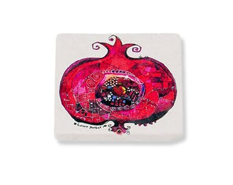 BiggDesign Pomegranate Natural Stone Coaster