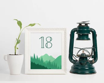 Mountain Table Numbers, Mountain Wedding Table Numbers, Table Numbers For Wedding, Table Number Cards, Printable Mountain Table Number