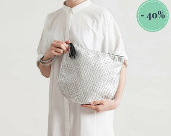 Basketball-silver woven leather clutch