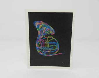 10 French Horn Cards//music cards//hand made//blank cards