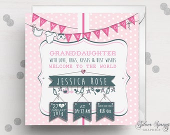 Square Granddaughter Birth Card