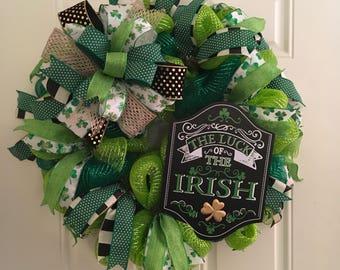 St Patricks Wreath / St Patricks Decor /  St Patricks Day Wreath / Irish Wreath / Green Wreath / Luck of the Irish / Wreaths for Front Door