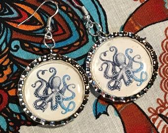 Octopus bottlecap earrings