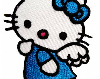 Patch/Ironing-Hello Kitty-blue-5.9 x 7.7 cm-by catch-the-Patch ® patch appliqué applications for ironing application patches patch