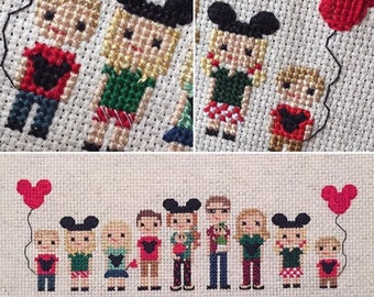 Disney Trip Cross Stitch Portrait - Vacation Commemorative Gift - Disney Vacation Photo Gift - Photo To Art Custom Gift -