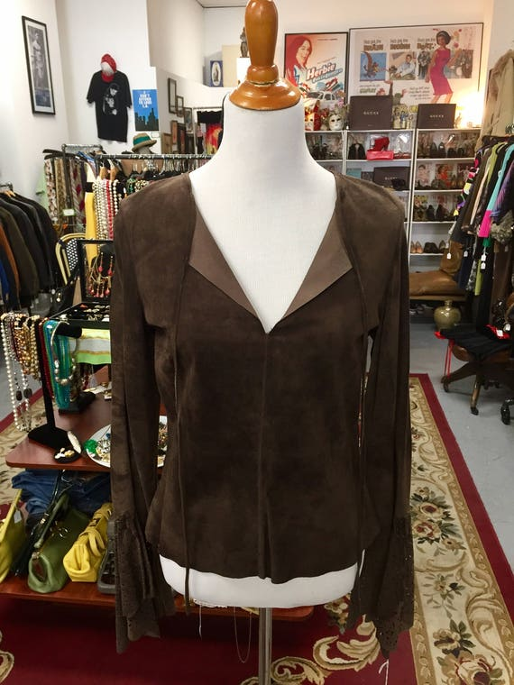 Gorgeous Chocolate Brown Suede Sheri Bodell Top