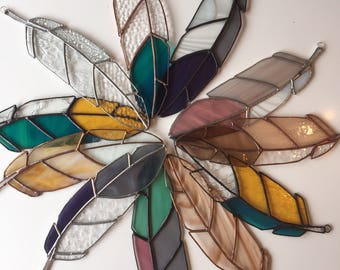 Custom Made to Order Large Stained Glass Feather