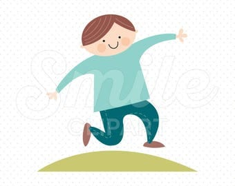 HAPPY JUMPING BOY Clipart Illustration for Commercial Use | 0006