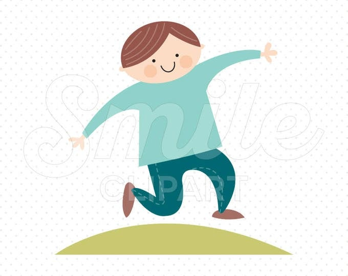Featured listing image: HAPPY JUMPING BOY Clipart Illustration for Commercial Use | 0006