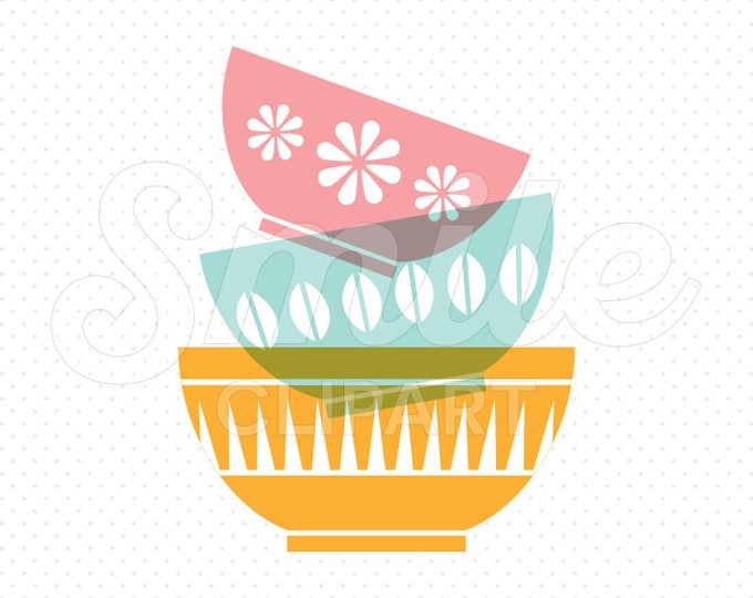 Featured listing image: STACK OF BOWLS Clipart Illustration for Commercial Use | 0009