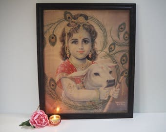 Beautiful Vintage Antique Hindu Krishna Indian God Goddess Framed Holy Devotional Puja Print Shrine Picture Art Lithograph