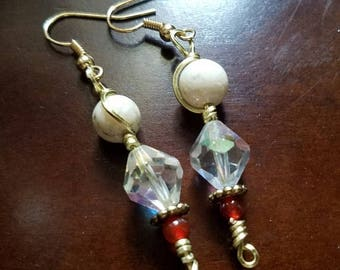 20% Off Champagne Gold Earrings with Swarovski Crystals, Ceramic Beads, and Carnelian Gemstone Accents