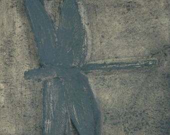Fossil replica of a dragonfly in museum quality; insect, solnhofen, prehistoric, science, jura
