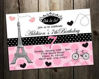 Paris birthday invitation, printable paris, printable birthday, printed, paris birthday invitations, eiffer tower girl pink oh la la