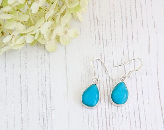 Turquoise Earrings - Silver Earrings - Dangle & Drop Earrings - Gemstone Earrings - TURQUOISE Silver Earrings - Handmade Earrings