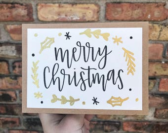 Merry Christmas Card - Gold Embossed - Handmade Rustic Calligraphy Card - Single Card