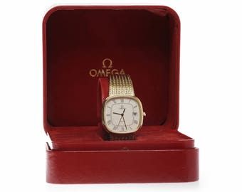 "Gentlemans ""Omega de Ville"" Gold Plated Quartz Wrist Watch with box&papers"