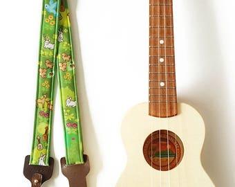 Ukulele Strap _ Forest Friends / Ready to ship / ukulele accessories