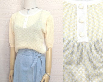 "Vintage clothing size XS / S ""Jess"" pastel color sweater, yellow short sleeve checked knitwear, us size 4 6, miss sunshine 80s clothing"