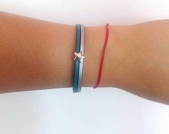 Gray and turquoise pattern leather bracelet star