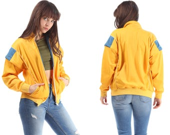 RETRO Bomber Track Jacket 80s Yellow Color Block Hip Hop Jumper Transformable To Vest Men Women Athletic Sports Relaxed Fit Medium Large