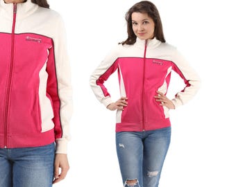CHAMPION Track Jacket 80s Pink White TURTLENECK Vintage Zip Up Retro Normcore Hip Hop Sport Women Hipster Medium