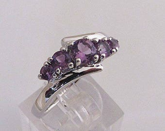 """Ring """"Design"""" in fine silver and Amethyst size 54"""