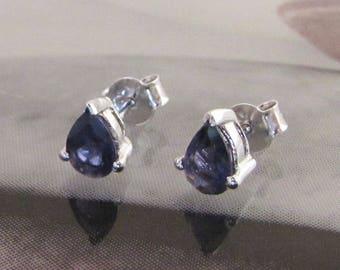 Silver pierced earrings and teardrop shaped Iolite