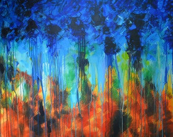 Abstract painting, Fire and Rain, oil painting