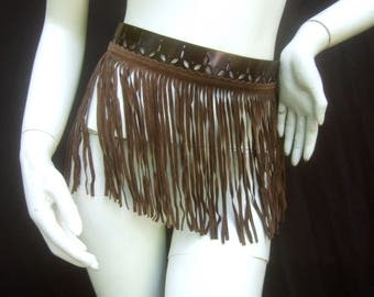 Avant garde Brown Leather Fringe Belt by Herve Masson Paris