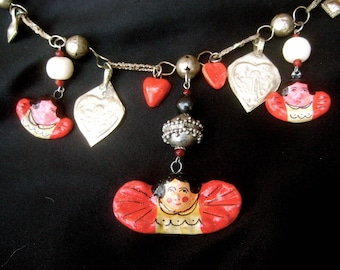 Romantic Mexican Dangling Charm Artisan Necklace c 1970s