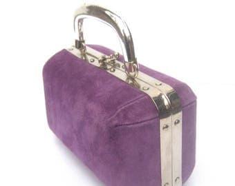 Italian Sleek Violet Suede Chrome Trim Handbag c 1970s