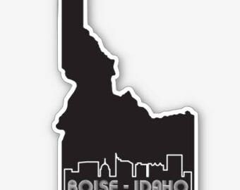 Boise Cityscape Retro - Idaho - Sticker/Decal