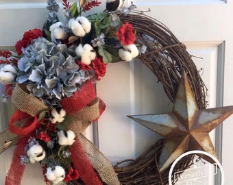 Patriotic Wreath, Front Door Wreath, 4th Of July Wreath, Red White Blue Wreath, Americana Wreath, Star Wreath, Summer Wreath