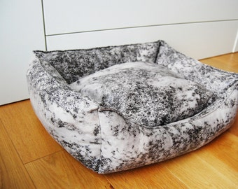 Cat bed, dog bed, Pet bed, Black and white pet bed, cozy pet bedding