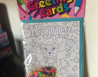 Vintage Lisa Frank Panda Painter Color Your Own Greeting Cards Unopened