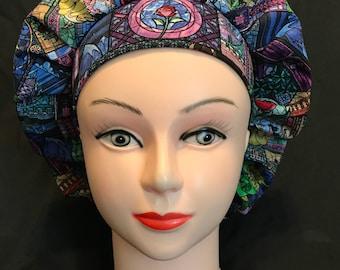 BEAUTY and the BEAST DISNEY Women's Surgical Scrub Hat Bouffant fits ponytail, Chemo Cap, Scrub Cap, Nurse Cap