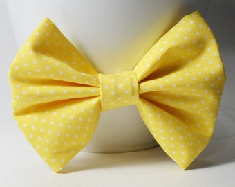 Fabric Bow - Yellow Polka Dot Bow